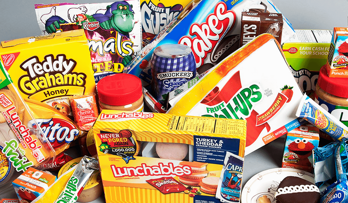 Examples of processed food.