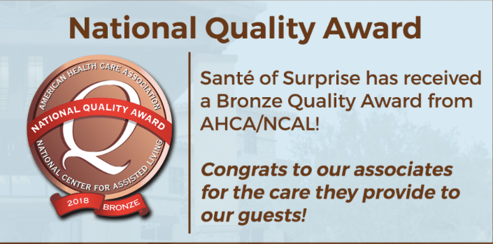 Sante won the National Quality Award for medical centers around Surprise