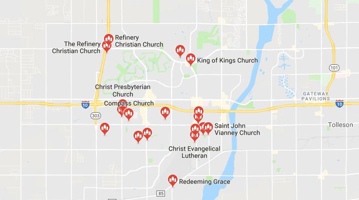 Map of Churches in Goodyear AZ