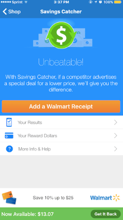 Walmart Savings Tracker app