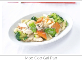 The Moo Goo Gai Pan was excellent
